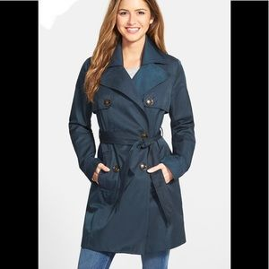 Laundry By Design Double Busted Blue Trench Coat